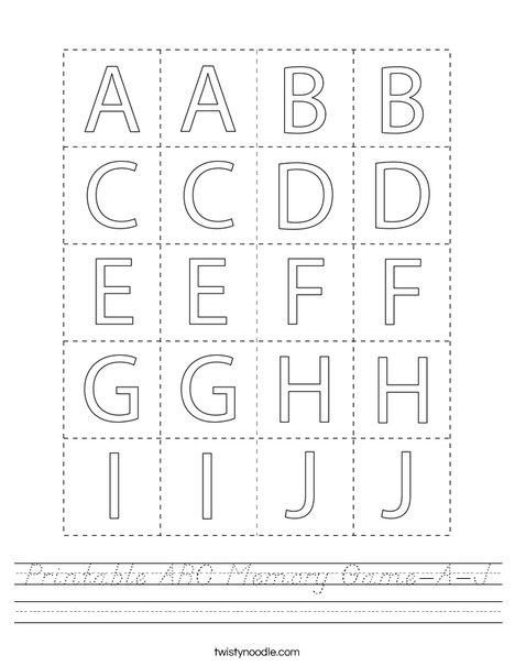 Printable ABC Memory Game- A-J Worksheet