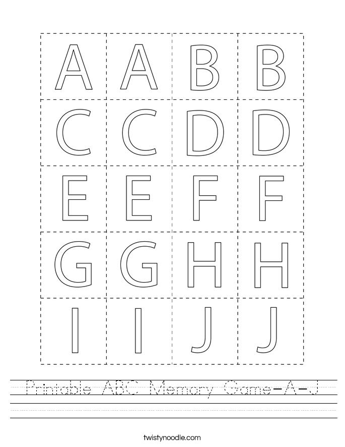 Printable ABC Memory Game-A-J Worksheet