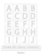 Printable ABC Memory Game-A-J Handwriting Sheet