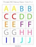 Printable ABC Memory Game- Color A-J Coloring Page