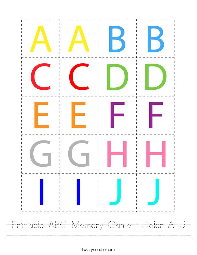 Printable ABC Memory Game- Color A-J Worksheet