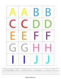 Printable ABC Memory Game- Color A-J Worksheet