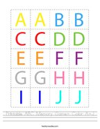 Printable ABC Memory Game- Color A-J Handwriting Sheet
