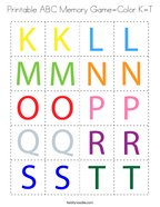 Printable ABC Memory Game-Color K-T Coloring Page