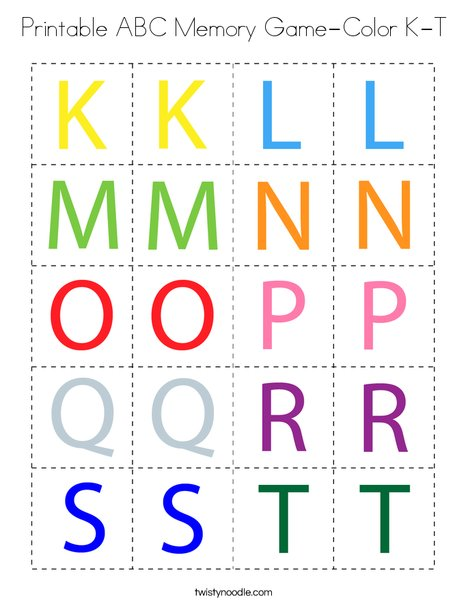 Printable ABC Memory Game- Color K-T Coloring Page