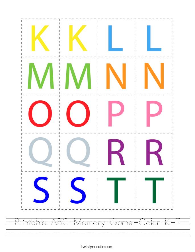 Printable ABC Memory Game-Color K-T Worksheet