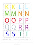Printable ABC Memory Game-Color K-T Worksheet