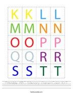 Printable ABC Memory Game-Color K-T Handwriting Sheet