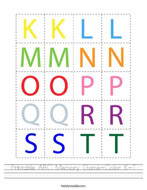 Printable ABC Memory Game- Color K-T Worksheet