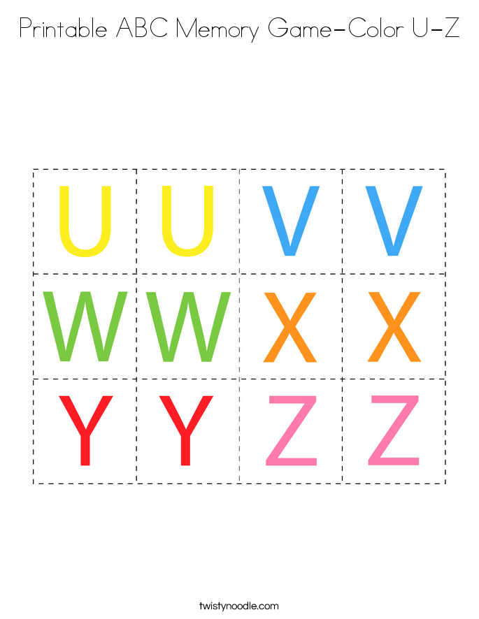 Printable ABC Memory Game-Color U-Z Coloring Page