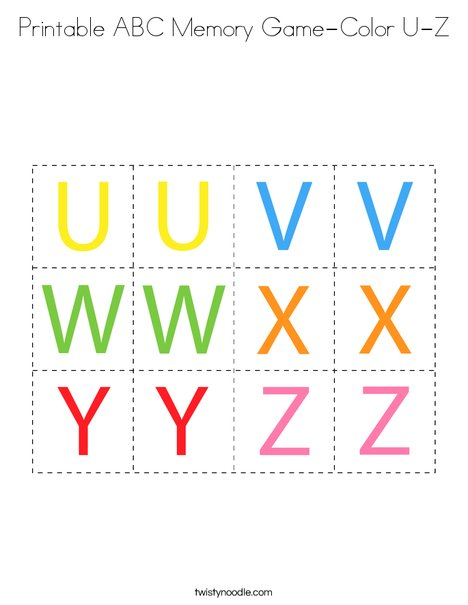 Printable ABC Memory Game- Color U-Z Coloring Page