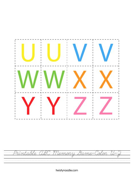 Printable ABC Memory Game- Color U-Z Worksheet
