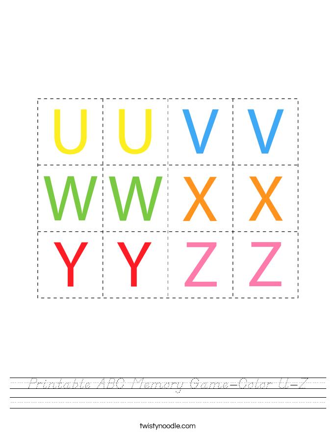 Printable ABC Memory Game-Color U-Z Worksheet