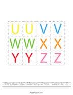Printable ABC Memory Game-Color U-Z Handwriting Sheet