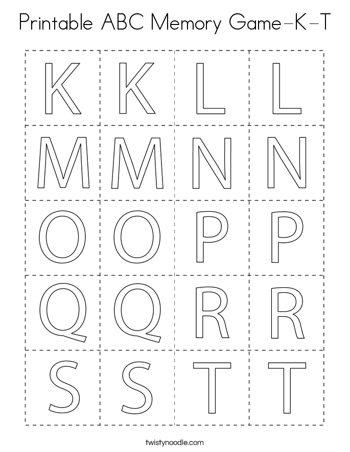 Printable ABC Memory Game-K-T Coloring Page