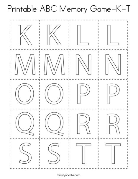 Printable ABC Memory Game- K-T Coloring Page