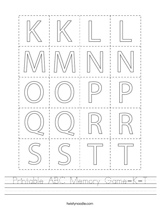Printable ABC Memory Game-K-T Worksheet