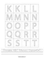 Printable ABC Memory Game-K-T Handwriting Sheet
