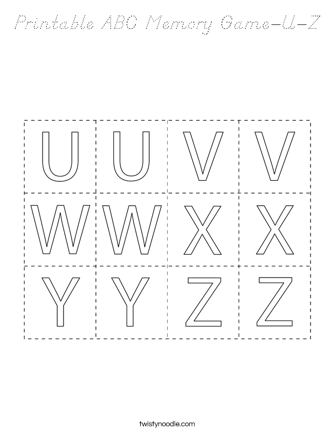 Printable ABC Memory Game-U-Z Coloring Page