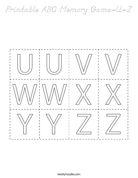 Printable ABC Memory Game- U-Z Coloring Page