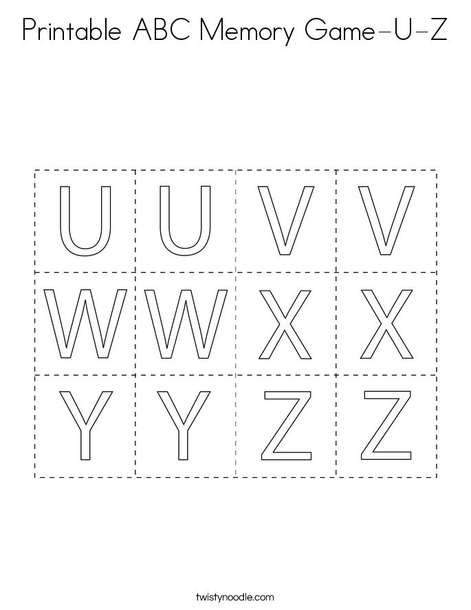 Printable ABC Memory Game-U-Z Coloring Page