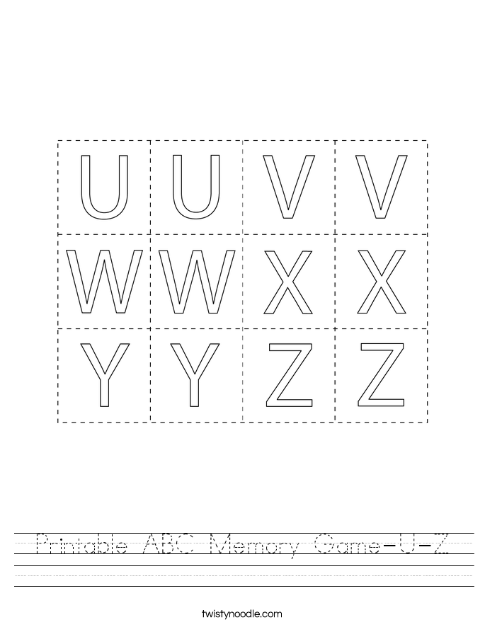 Printable ABC Memory Game-U-Z Worksheet