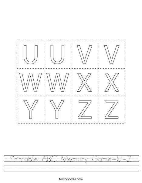 Printable ABC Memory Game- U-Z Worksheet