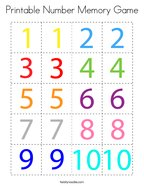 Printable Number Memory Game Coloring Page