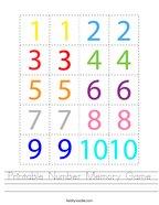 Printable Number Memory Game Handwriting Sheet