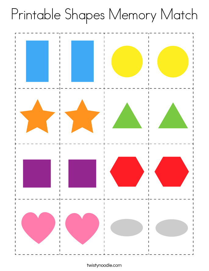 Printable Shapes Memory Match Coloring Page