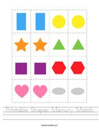 Printable Shapes Memory Match Handwriting Sheet