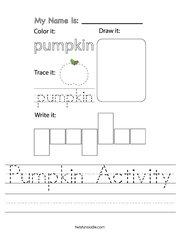 Pumpkin Activity Handwriting Sheet