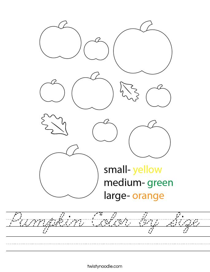 Pumpkin Color by Size Worksheet