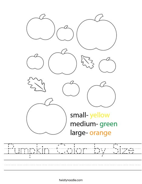Pumpkin Color by Size Worksheet