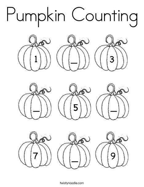 Pumpkin Counting Coloring Page Twisty Noodle