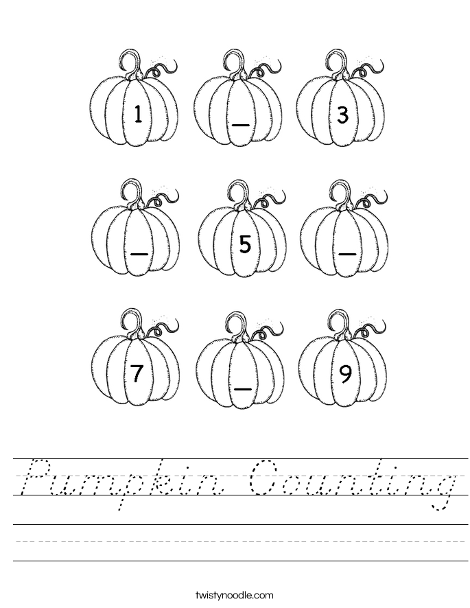 pumpkin counting worksheet d 39 nealian twisty noodle. Black Bedroom Furniture Sets. Home Design Ideas