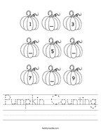 Pumpkin Counting Handwriting Sheet