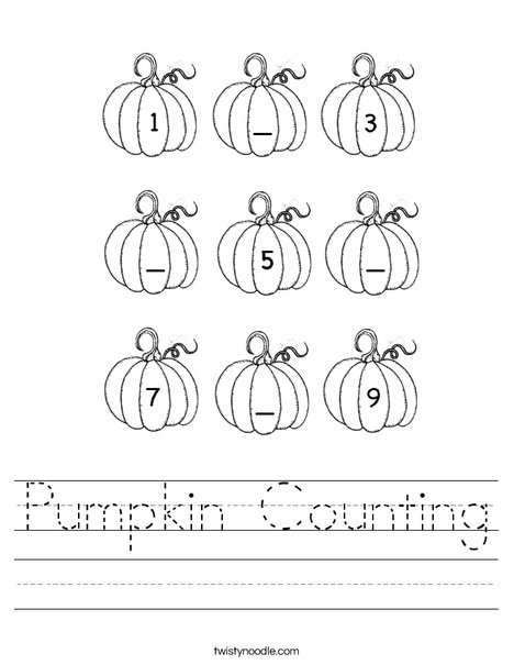 pumpkin counting worksheet twisty noodle. Black Bedroom Furniture Sets. Home Design Ideas