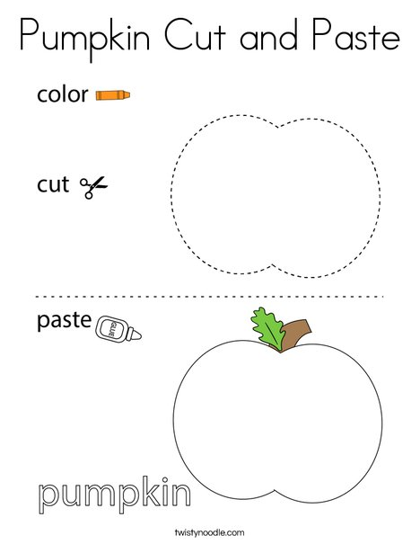 Pumpkin Cut and Paste Coloring Page