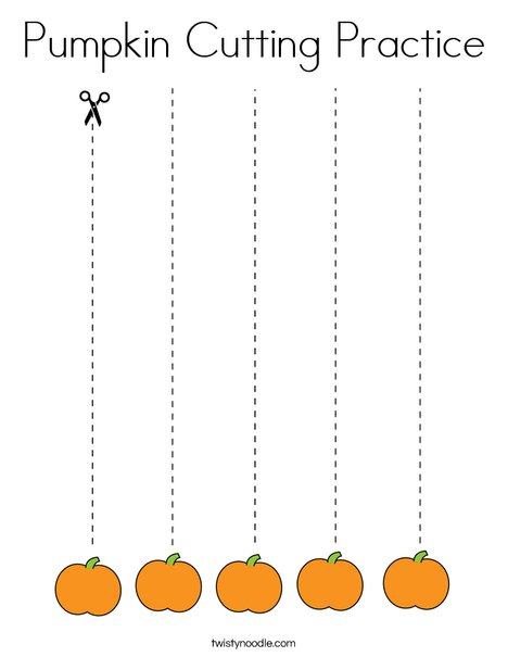 Pumpkin Cutting Practice Coloring Page