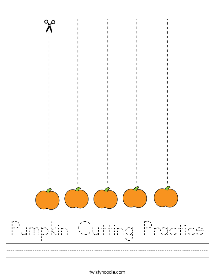 Pumpkin Cutting Practice Worksheet