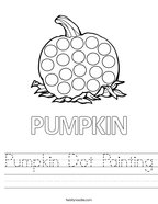 Pumpkin Dot Painting Handwriting Sheet