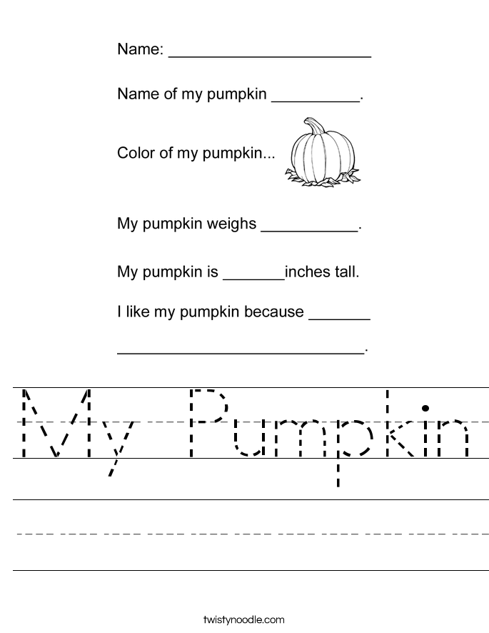 My Pumpkin Worksheet