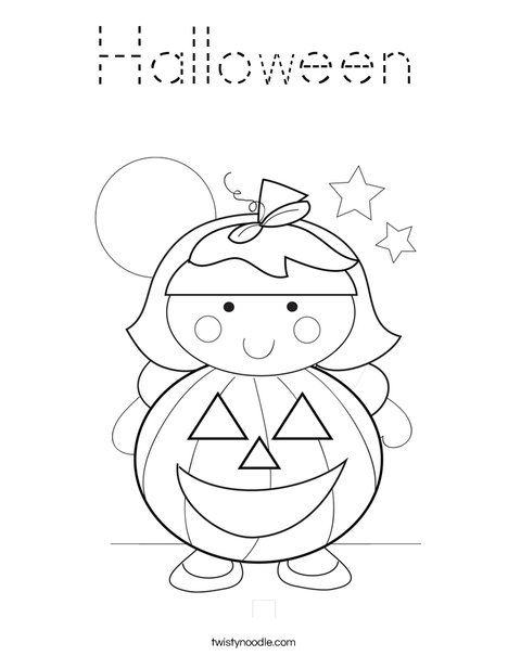 Halloween Coloring Page Tracing