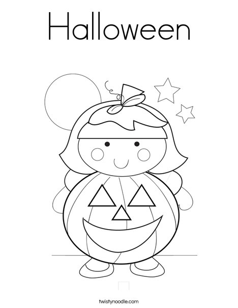 Pumpkin Girl Coloring Page