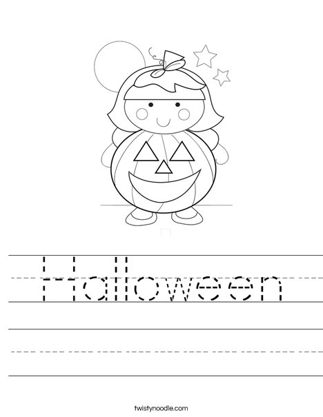 Pumpkin Girl Worksheet