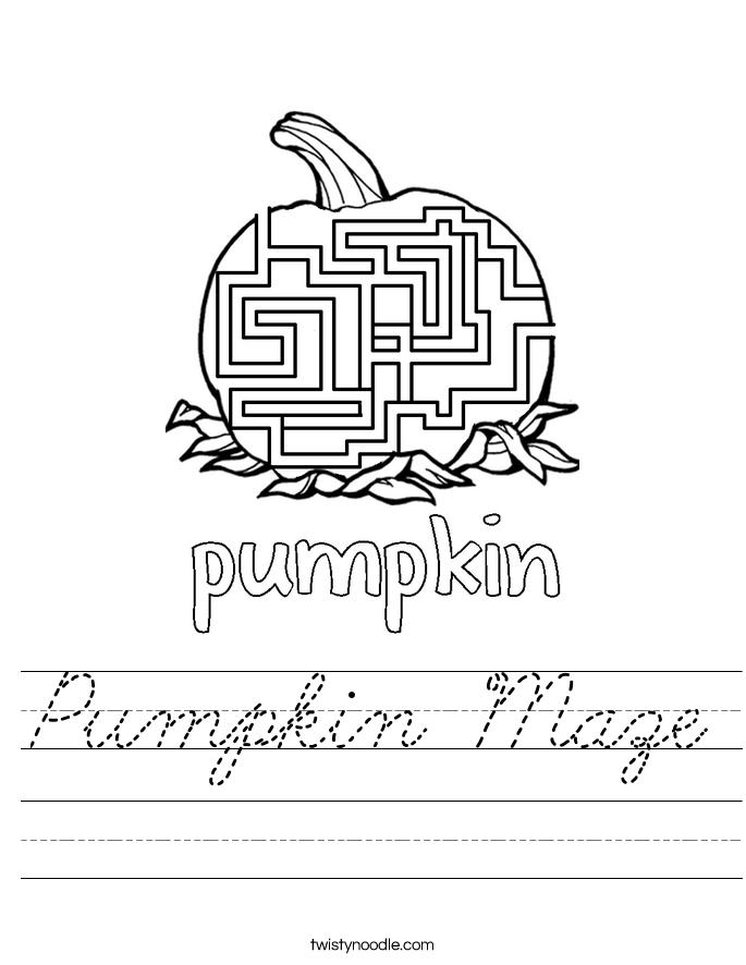 Pumpkin Maze Worksheet