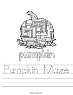 Pumpkin Maze Handwriting Sheet