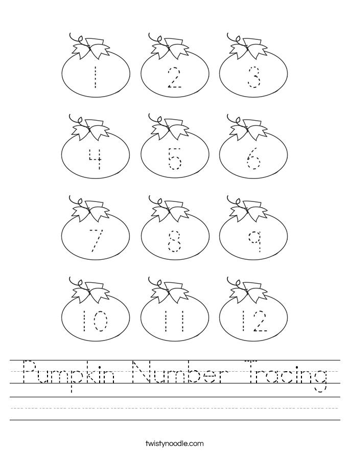 Pumpkin Number Tracing Worksheet