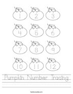 Pumpkin Number Tracing Handwriting Sheet